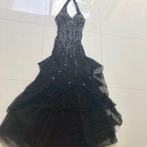 Long gala dress black beaded